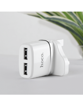 HOCO C12B SMART DUAL PORTS CHARGER SET WITH LIGHTNING CABLE